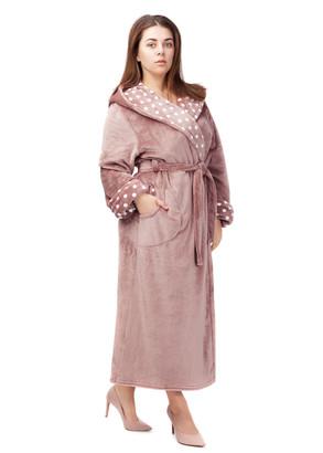2010 Довгий флісовий халат з капюшоном Easy Light Капучіно