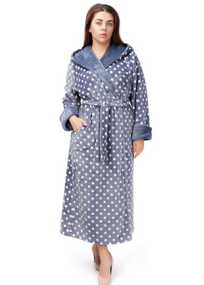 2010 Довгий флісовий халат з капюшоном Easy Light Сірий в горошок