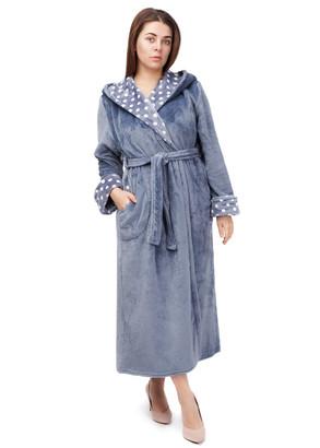 2010 Довгий флісовий халат з капюшоном Easy Light Сірий