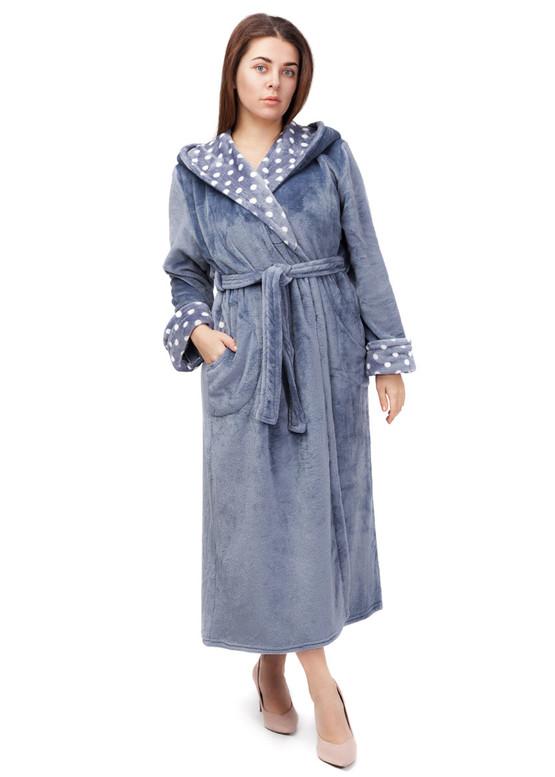2010 Длинный флисовый халат с капюшоном Easy Light Серый