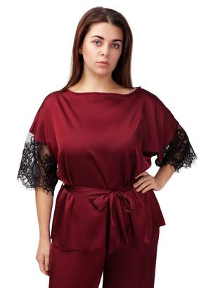2021 Женская шелковая пижама блузон с брюками Avilla Easy Light Бордо