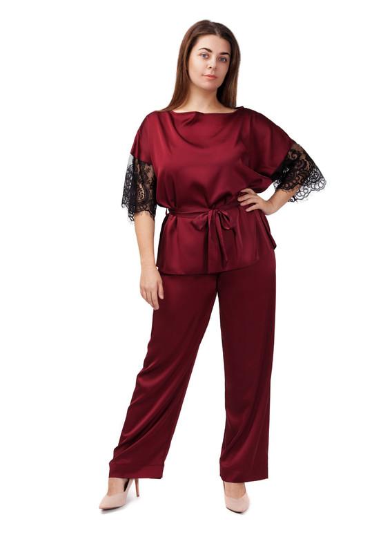 2021 Женская шелковая пижама блузон с брюками Avilla TM Easy Light Бордо