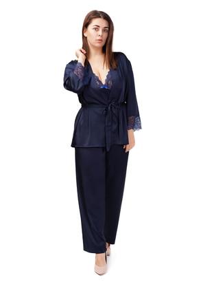 2022 Женская шелковая пижама с коротким халатом Kolett Easy Light Синий