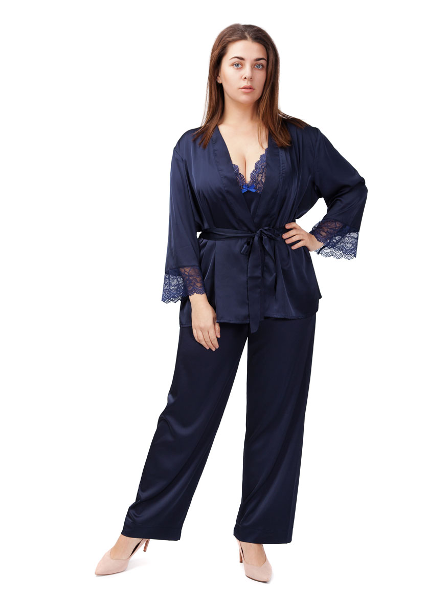 2022 Женская шелковая пижама с коротким халатом Kolett TM Easy Light Синий