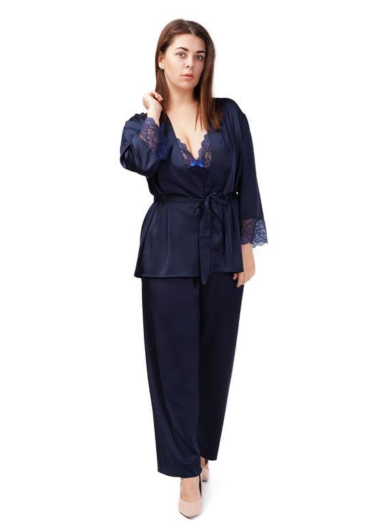 2022 Жіноча шовкова піжама з коротким халатом Kolett TM Easy Light Синій