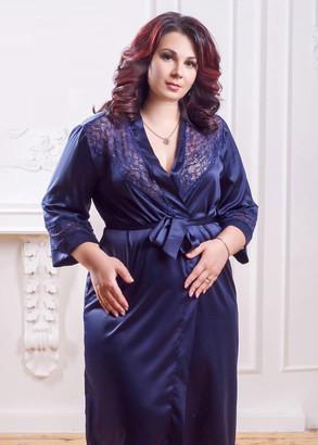 2031/1 Жіночий шовковий халат Essen ТМ Easy Light Синій