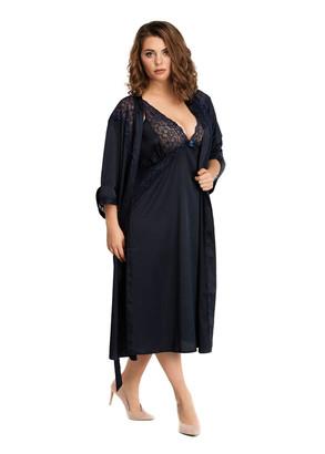 2031 Шелковая ночная сорочка с халатом Essen Easy Light Синий