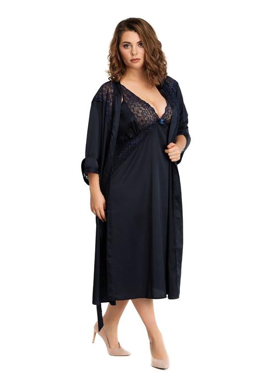 2031 Шелковая ночная сорочка с халатом Essen TM Easy Light Синий