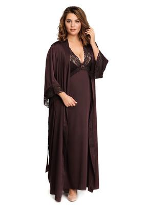 2032 Шелковая ночная сорочка с халатом Feniks Easy Light Шоколад