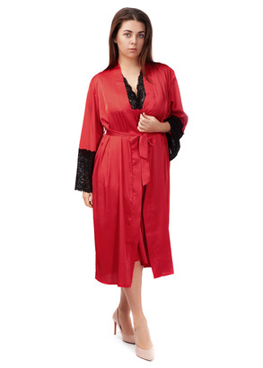 2033 Шовкова нічна сорочка з халатом Sharm TM Easy Light Червоний