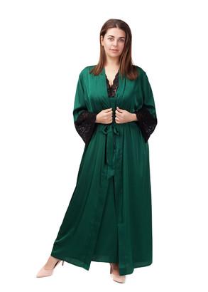 2034 Шелковая ночная сорочка с халатом Sharm Easy Light Зеленый