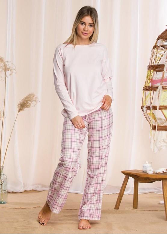 042 Женская байковая пижама: кофта и длинные штаны Key Цветной