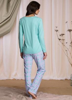 422 Жіноча байкова піжама: лонгслів і довгі штани Key Кольоровий
