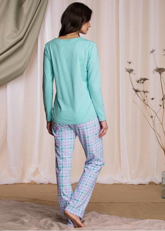 422 Женская байковая пижама: лонгслив и длинные штаны Key Цветной