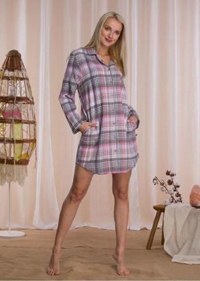 423 Байкова нічна сорочка Key Сірий з рожевим