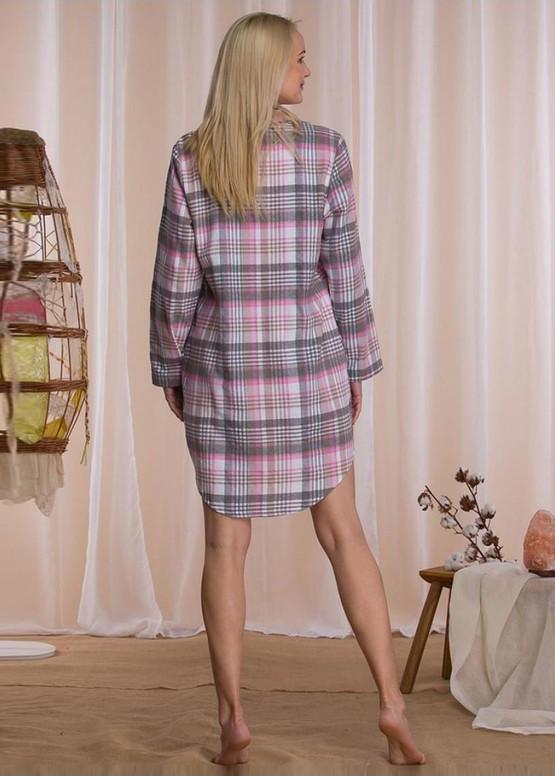423 Байковая ночная сорочка Key Серый с розовым