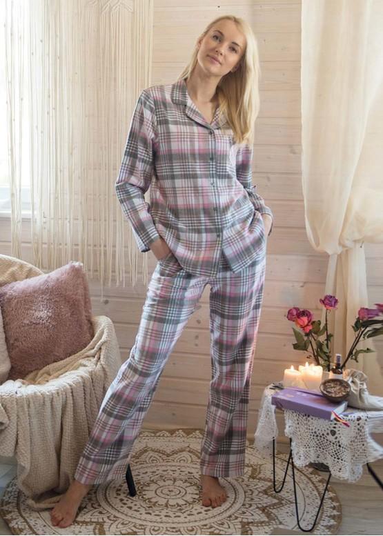423 Женская байковая пижама: рубашка и длинные штаны Key Цветной