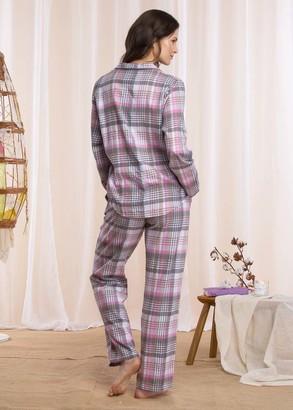 423 Жіноча байкова піжама: сорочка і довгі штани Key Кольоровий