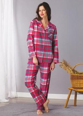 435 Жіноча байкова піжама: сорочка і довгі штани Key Кольоровий