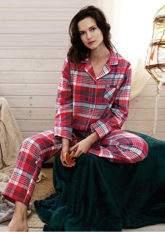 435 Женская байковая пижама: рубашка и длинные штаны Key Цветной