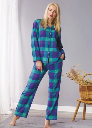 440 Жіноча байкова піжама: сорочка і довгі штани Key Синій з зеленим