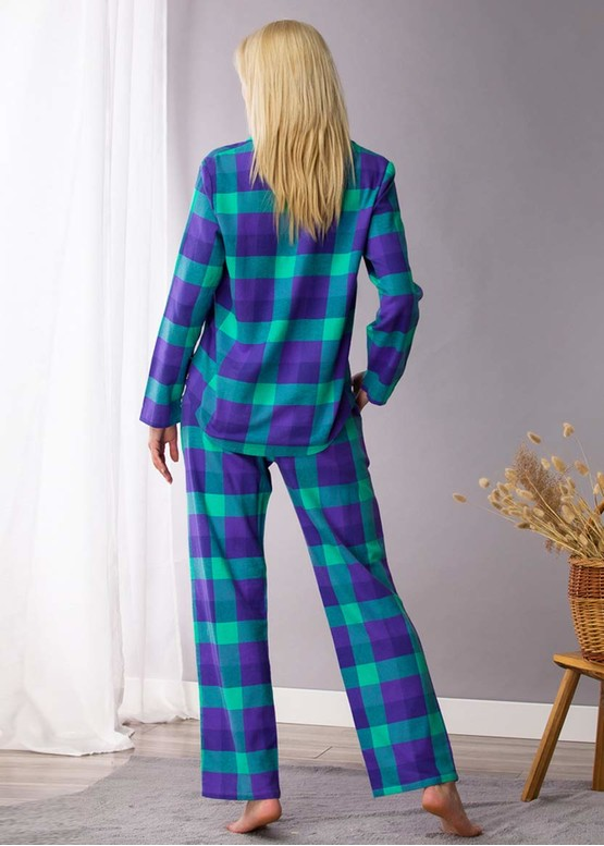 440 Женская байковая пижама: рубашка и длинные штаны Key Синий с зеленым