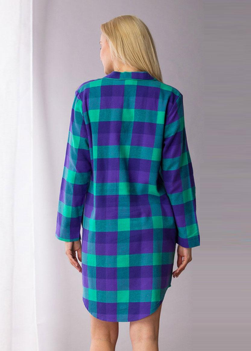 440 Байковая ночная сорочка Key Синий с зеленым