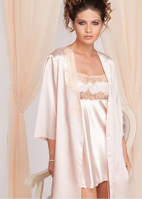 1187/1 Шелковая ночная сорочка с халатом Galshka ТМ Komilfo Карамель