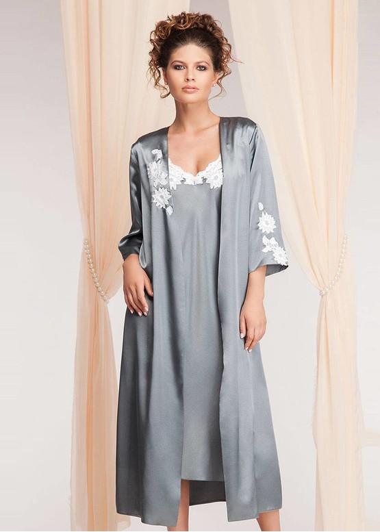 1218 Шовкова нічна сорочка з халатом Santorini Komilfo Малахіт (до 5XL)