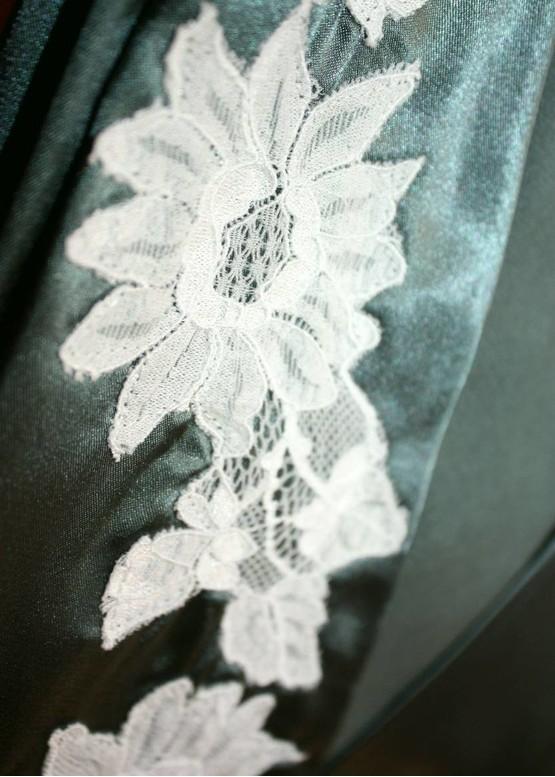 1218 Шовкова нічна сорочка з халатом Santorini ТМ Komilfo Малахіт (до 5XL)