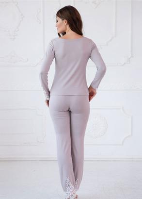 3156 Пижама блузон с брюками из вискозы Moonstone TM Komilfo Мокко