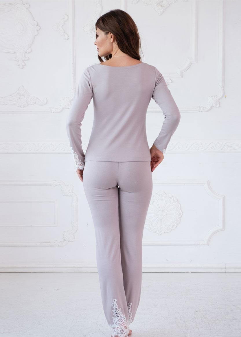 3156 Пижама блузон с брюками из вискозы Moonstone TM Komilfo Мокко спинка
