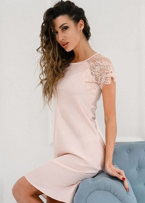 1396 Шовкова нічна сорочка великого розміру середньої довжини Rosemary Komilfo Рожевий