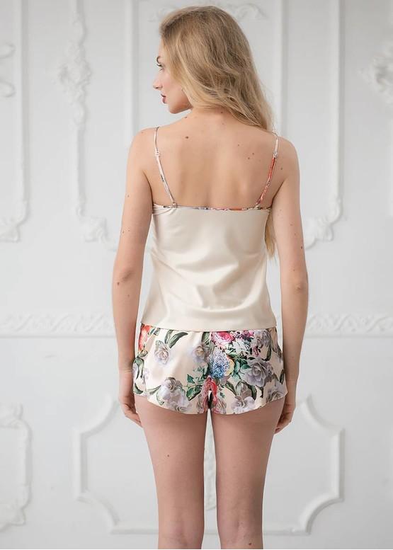 2015 Шелковая пижама майка и шортики Lilian TM Komilfo Ваниль спинка