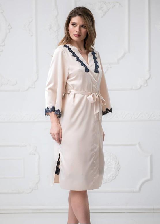 2136 Шовкова нічна сорочка з халатом Crocus ТМ Komilfo Платина
