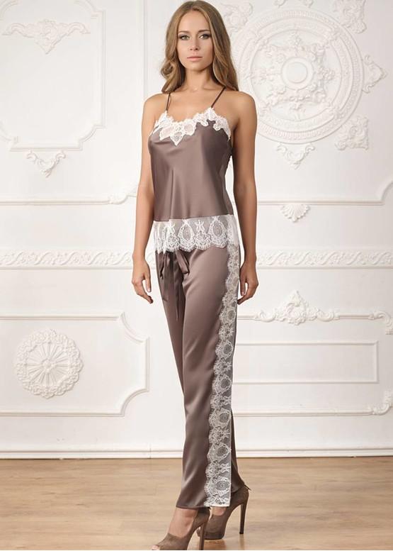 2143 Шелковая пижама с укороченным халатиком Carolina TM Komilfo Гранит