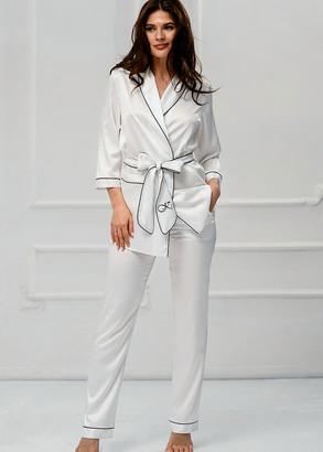 3173 Шелковый комплект укороченный халат с брюками Brussels Komilfo Шампань