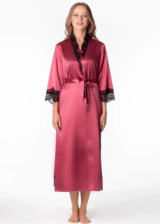 1322 Шелковая ночная сорочка с халатом Ametrine ТМ Komilfo Вино