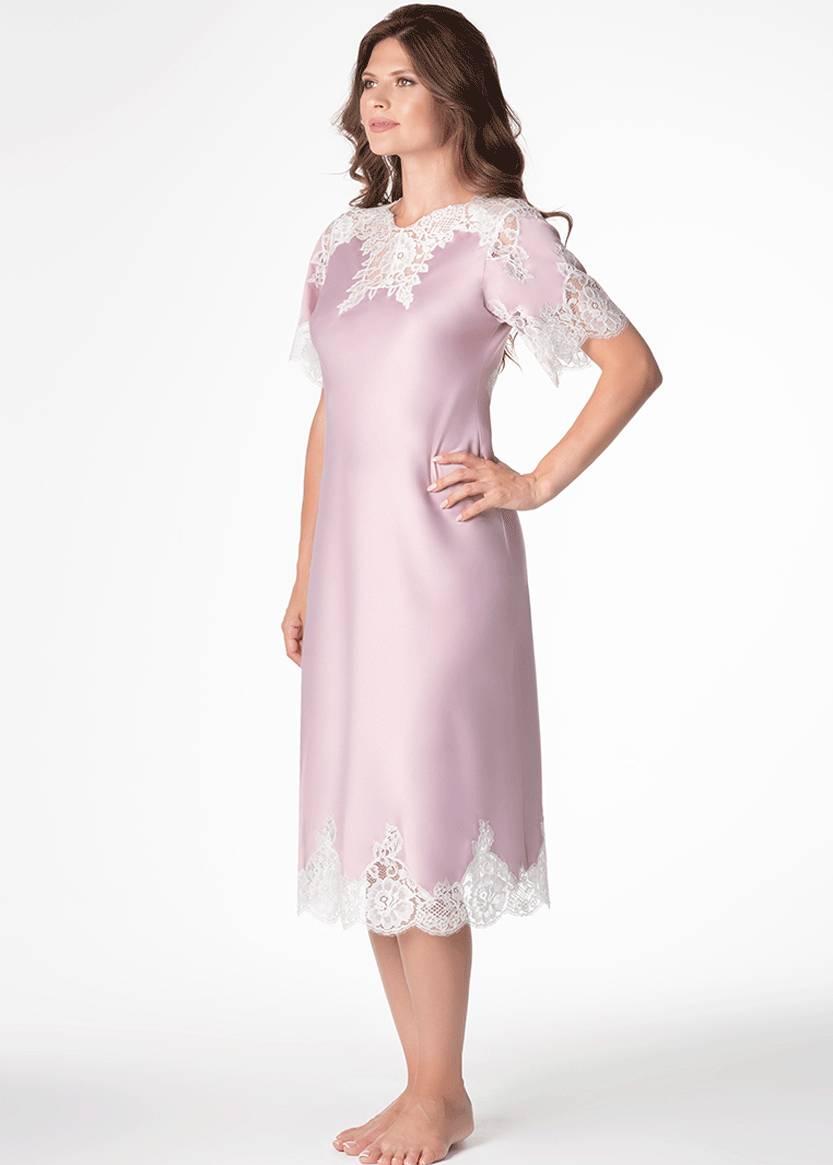 1286 Шелковая ночная сорочка Roxie TM Komilfo Пудра