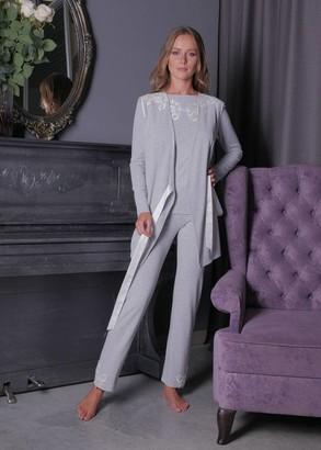 3158 Пижама блузон с брюками с накидкой из вискозы Verona TM Komilfo Серый
