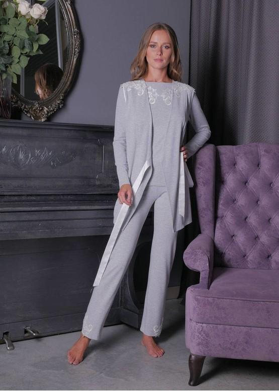 3158 Піжама блузон з брюками з накидкою з віскози Verona TM Komilfo Сірий
