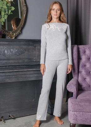 3158 Пижама блузон с брюками с накидкой из вискозы Verona Komilfo Серый