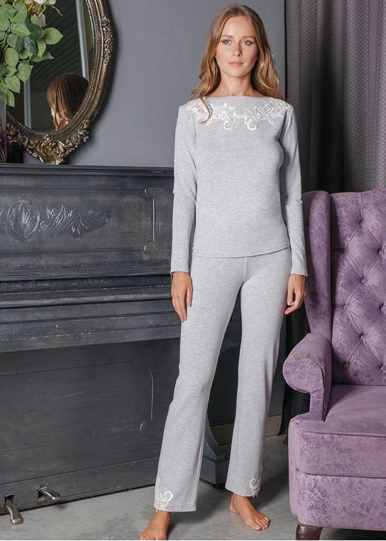 3158 Піжама блузон з брюками з віскози Verona TM Komilfo Сірий