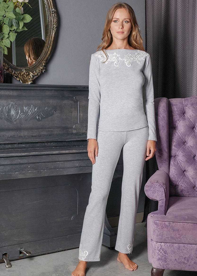 3158 Пижама блузон с брюками из вискозы Verona TM Komilfo Серый
