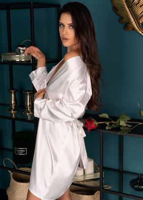 714-718 Женский шелковый халат большого размера Edelina Livia Corsetti Молочный