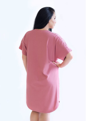 03-060 Ночная сорочка из хлопка Marsana Пурпурно-розовый