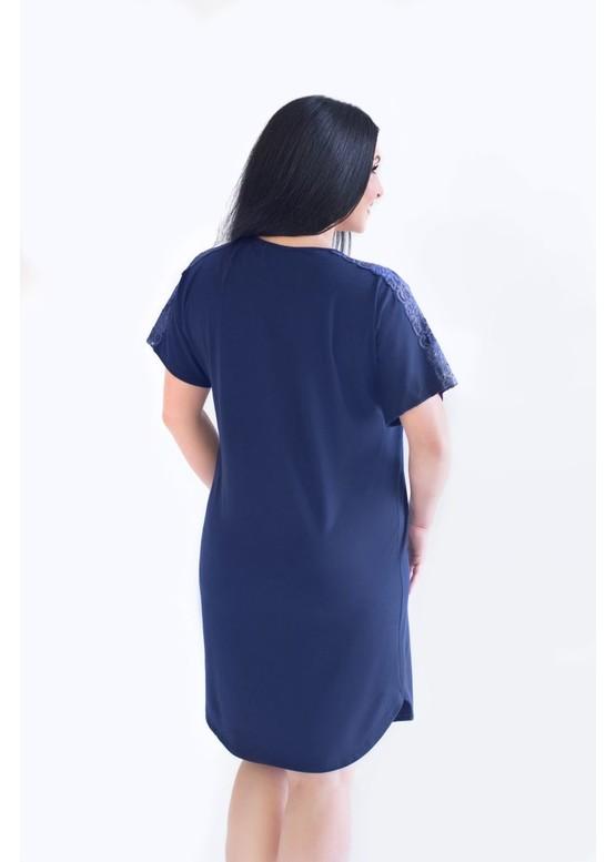 03-060 Ночная сорочка из хлопка Marsana Сапфир вид сзади