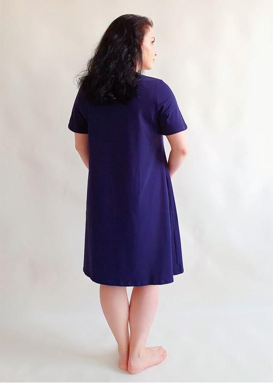 03-068 Ночная сорочка из хлопка Marsana Сапфир вид сзади