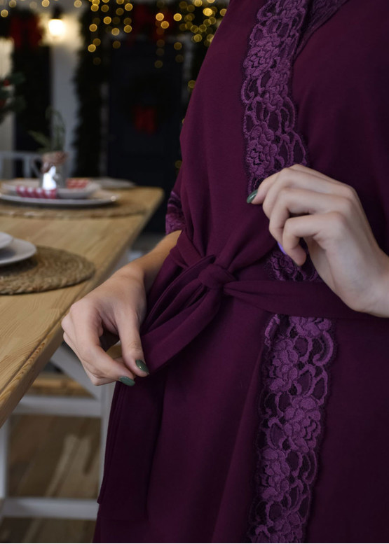 08-003 Женский хлопковый халат Marsana Вино