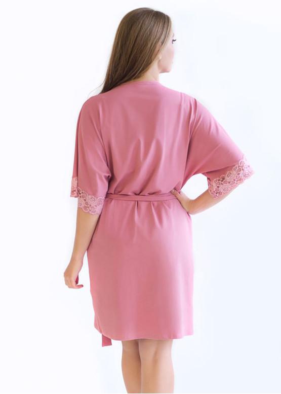 08-003 Короткий хлопковый халат Marsana Пурпурно-розовый вид сзади